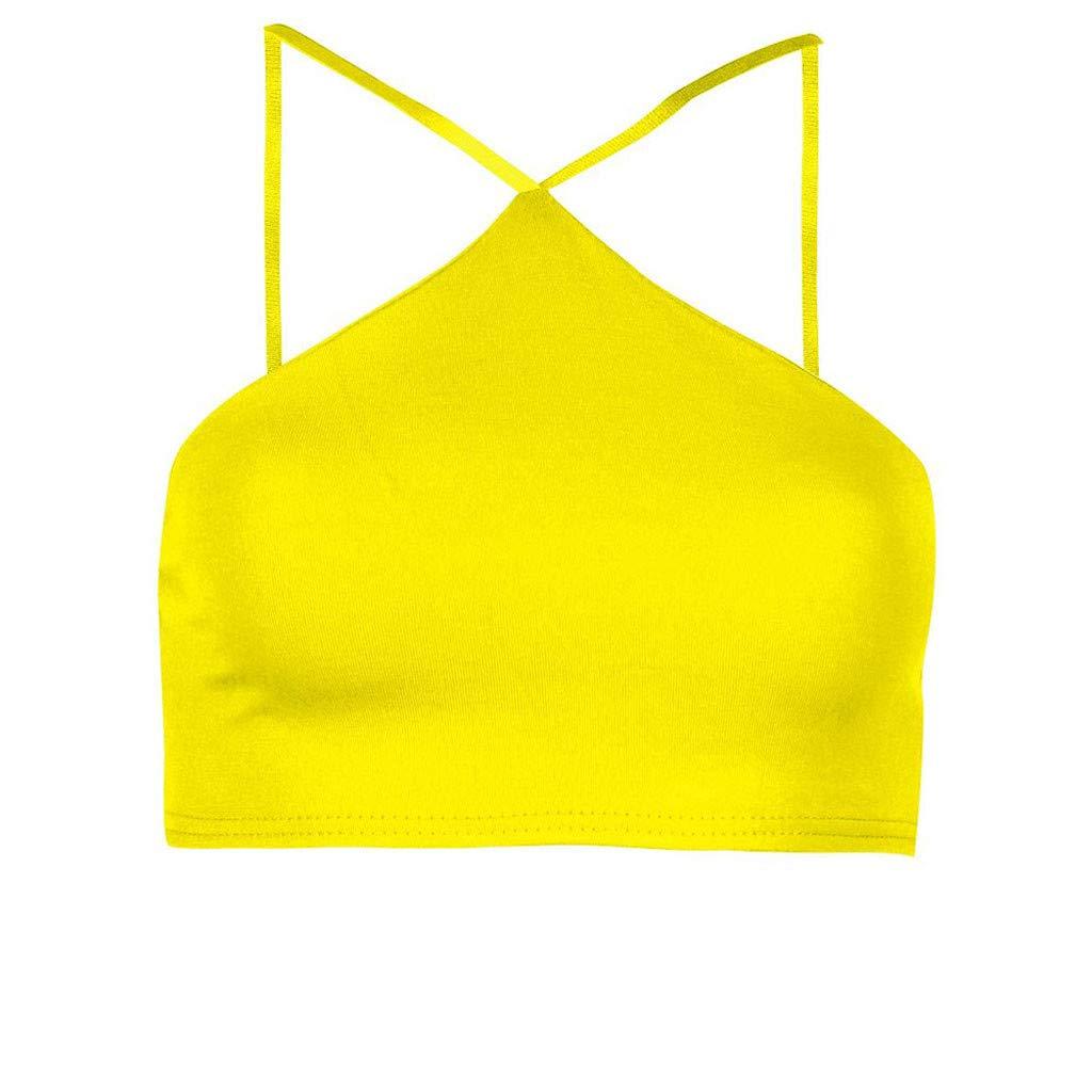 Sinfu Women's Halter Short Vest Top Solid Color Underwear Short Cropped T-Shirt (S, Yellow)