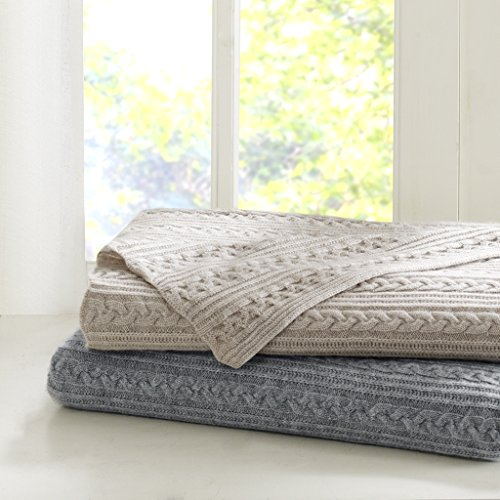 Madison Park Signature Cashmere Blend Cable Knit Throw Grey (Signature Cable Knit)