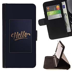 /Skull Market/ - Hello gold poster text gradient grey hi For HTC One M7 - Caja de la carpeta del tir??n del cuero de la PU [con ranuras para tarjetas y cierre de solapa magn? -