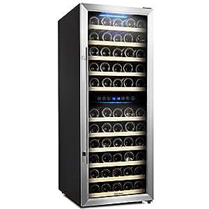 73 Bottle Dual Zone Wine Cooler, Kalamera Glass Door Refrigerator with Digital Temperature Display