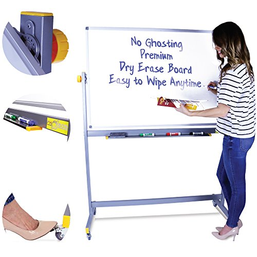 Rolling Whiteboard - Mobile Whiteboard - Dry Erase Board with Stand - Portable Whiteboard - Standing Whiteboard - White Board on Wheels - no Ghosting - Easy To Assemble, Detailed Instructions Included ()