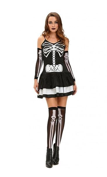 Mela Proibita Costume Carnevale Halloween Travestimento Vestito Donna  Scheletro Horror Smiffys 412d5c152fa2