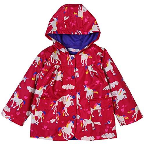 LZH Kids Girls Rain Jacket Waterproof Raincoat Hooded Outwear Red (Ladybug Red Raincoat)