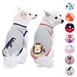 Blueberry Pet Pack of 2 Soft & Comfy Summer Zoo Fun Cotton Blend Dog T Shirts, Back Length 10'', Clothes for Dogs