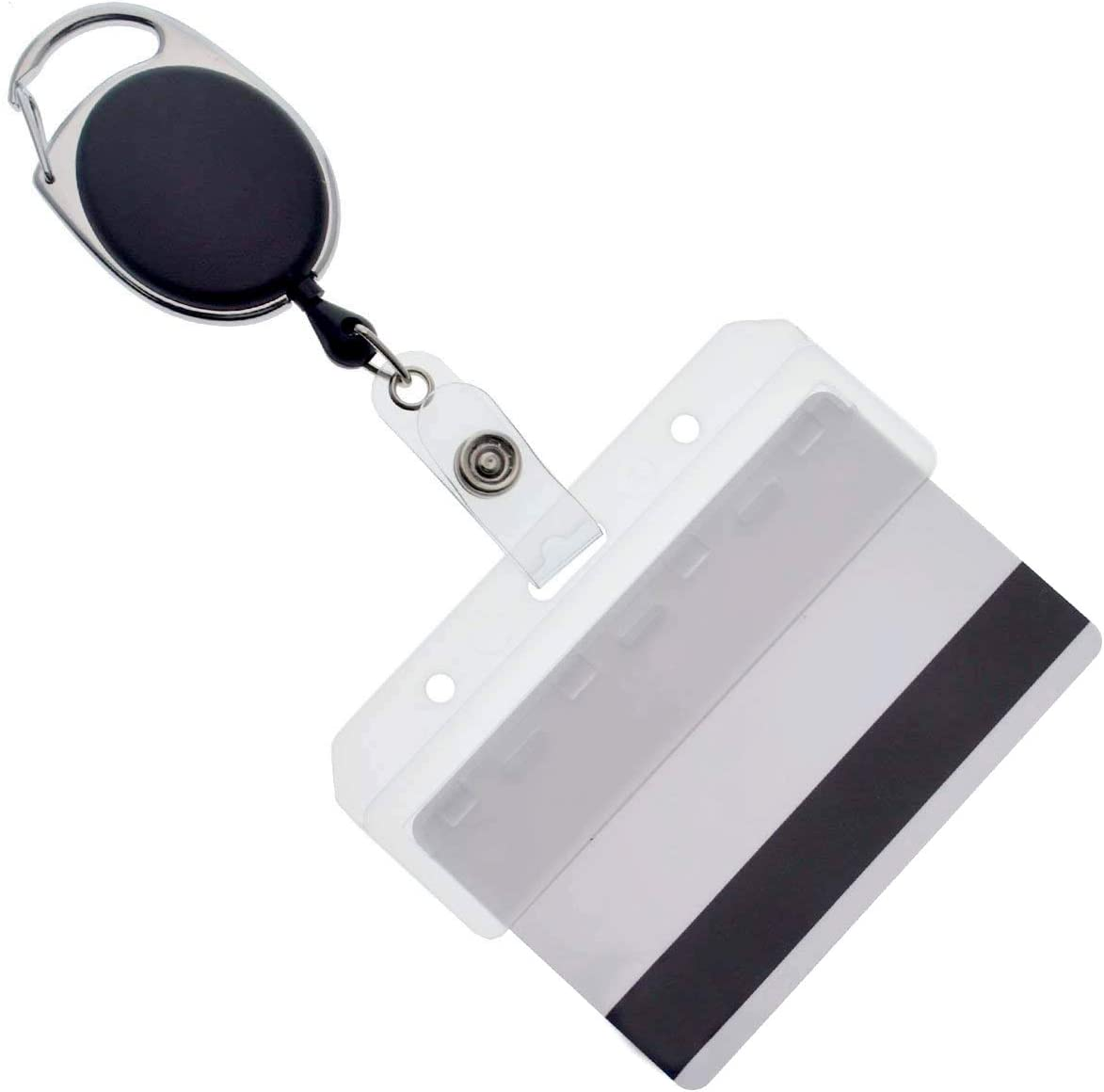 Retractable Badge Reel /& Horizontal ID Holder Combo set US Seller
