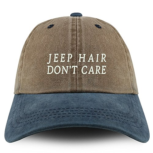 Trendy Apparel Shop Jeep Hair Don't Care Embroidered Pigment Dyed Unstructured Cap - Khaki Navy ()