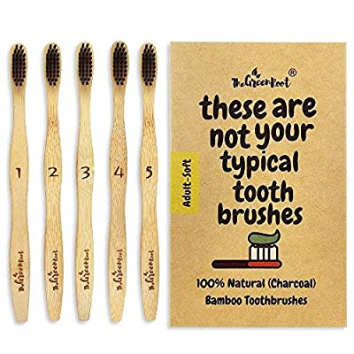 Natural Bamboo Toothbrush For Adults W/BPA Free Nylon Bristles, Individually Numbered Pack of 4, Organic & Compostable toothbrushes, Plastic Free Packaging