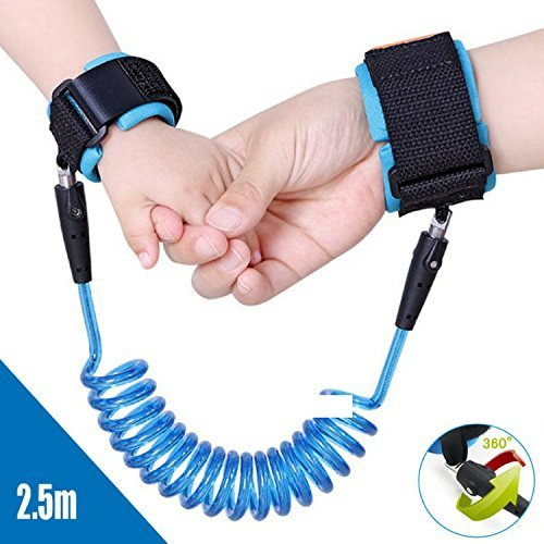Kids Safety Harness Child Leash Anti Lost Wrist Link - extra long (2.5m) with metal buckle (Blue)