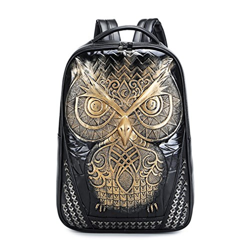 Backpack Students Female Large Capacity Backpack PU Floral Gold - 2
