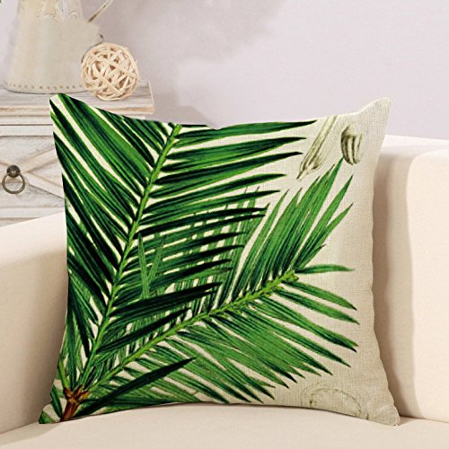 Tropical Cushion - Pillow Covers Square Cushion Covers Throw Pillow Cases Home Decorative Tropical Leaves 18 x 18 inch (pattern 3)