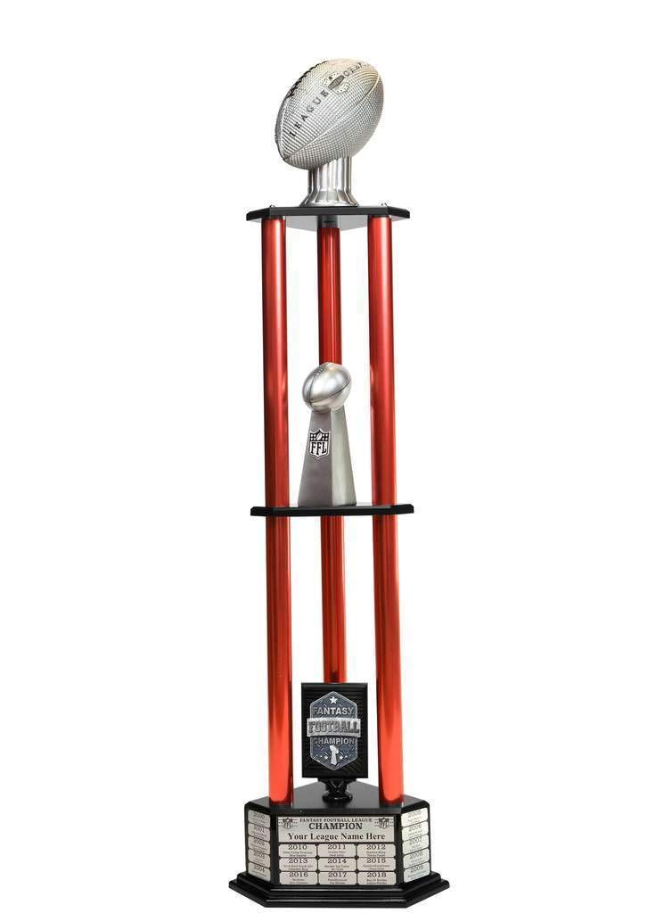 Customizable 56'' Fantasy Football Trophy with Free Engraving for up to 19 Years of Past Winners (Vivid Silver, red Columns) by TrophySmack