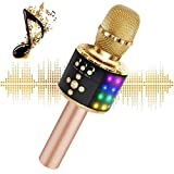 Wireless Bluetooth Karaoke Microphone with Multi-color LED Lights, 4 in 1 Portable Handheld