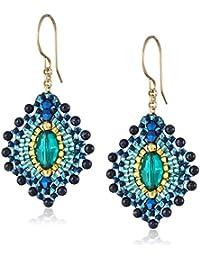 Blue Gold Stone Lotus Earrings