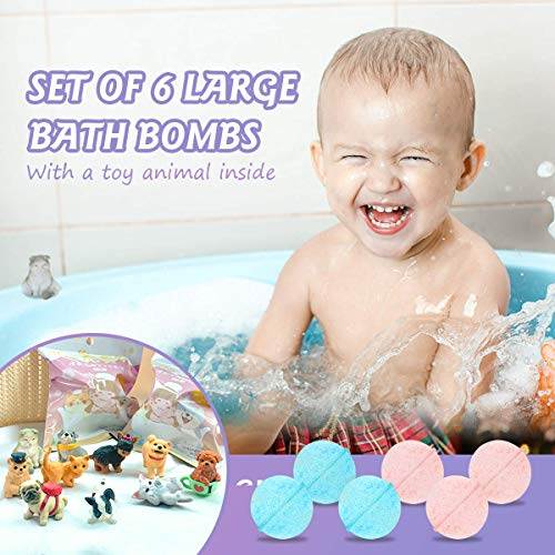Bath Bombs with Toys Inside for Kids, Surprise Toys Gift Set for Boys & Girls, Ages Over 3 Years Old, Toddlers, Fizzies Safe Gentle Spa Balls, 6 Pack