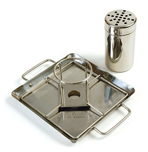 Steven Raichlen Best of Barbecue Beer-Can Chicken Roaster Rack INCLUDES RACK, CANISTER AND DRIP PAN - DURABLE and LONG-LASTING CUSTOMER FAVORITE (Stainless Steel) - SR8016