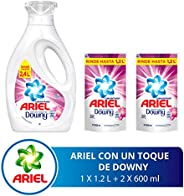 Ariel Toque de Downy Detergente Líquido 1.2 litros con 2 Refills De 600 ml con U, 2.4 litros en Total, Pack of 1