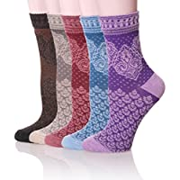 5-Pack Velice Womens Cotton Vintage Style Crew Socks