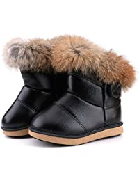 Girls Boys Warm Winter Flat Shoes Bailey Button Snow...