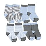 """Luvable Friends Baby Boys' """"Stripes + Solids"""" 4-Pack Crew Socks"""