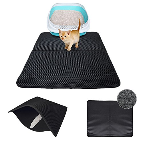 M 7055cm FidgetFidget Durable Black Hole Cat Litter Mat Dual-Structure Litter Folded Mat Waterproof M 70  55cm
