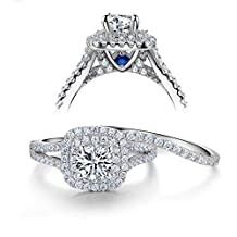 Newshe 2ct Round Created Blue Sapphire White Cz 925 Sterling Silver Wedding Engagement Ring Set Size 5-10