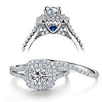 Newshe Wedding Engagement Ring Set 925 Sterling Silver 2ct Round Created Blue Sapphire White Cz 5-10