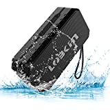 Waterproof Bluetooth Speaker IPX5, LOBKIN Portable Wireless Stereo Speaker with Built-in Mic, Support TF Card Slot/U Disk, Dual-Driver Outdoor Speaker for Pool, Beach, Travel, Party