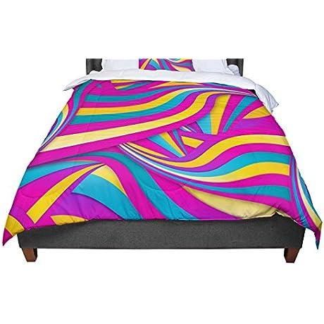 KESS InHouse Danny Ivan Swirls Everywhere Pink Teal King Cal King Comforter 104 X 88