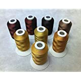 8 Same Color Shade Polyester Embroidery Machine Thread for Janome Brother Pfaff Bernina Babylock Singer Husqvarna Machines (Brown)
