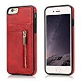 Yobby Case for iPhone 6/6S,Slim Fit Retro Premium PU Leather Back Wallet Case with Zipper and Card Holder,Shockproof Bumper Protective Cover for iPhone 6/6S-Red