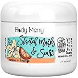Body Merry Sweet Citrus Stretch Marks Cream – Daily Moisturizer with Organic Cocoa Butter + Shea + Plant Oils + Vitamins to Prevent, Reduce/Fade Away Old or New Scars – Best for Pregnancy and also Men