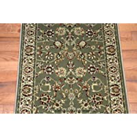 Dean Elegant Keshan Sage Carpet Rug Runner - Purchase by the Linear Foot