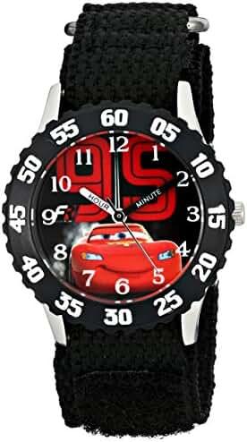 Disney Kids' W001586, Cars Lightning McQueen Stainless Steel Watch, Black Nylon Band