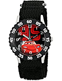 Kids' W001586, Cars Lightning McQueen Stainless Steel Watch, Black Nylon Band