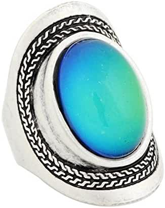 Mojo Handmade Unique Pattern Antique Sterling Silver Plating Oval Stone Color Change Mood Ring MJ-RS020