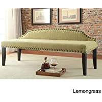 Furniture of America Emira 63.5-inch Flax Upholstered Food-board Accent Bench Green