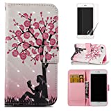 For iphone 7/iphone 8 Case and Card Holder,OYIME [Flower Tree and Girl] 3D Glitter Pattern Design Bookstyle Leather Wallet Holster with Wrist Lanyard Kickstand Function Full Body Protective Bumper Magnetic Closure Flip Cover with Screen Protector