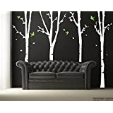 "PopDecors - 4 Super birch trees(102"" H) - Custom Beautiful Tree Wall Decals for Kids Rooms Teen Girls Boys Wallpaper Murals Sticker Wall Stickers Nursery Decor Nursery Decals"