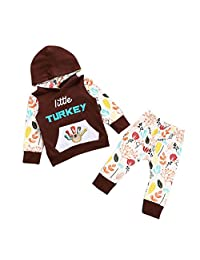 Perman 2PCS Kids Baby Girls Thanksgiving Outfit Print T-shirt Tops+Pants Set