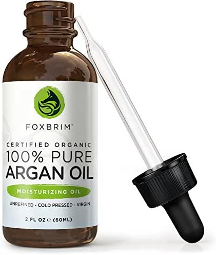 Foxbrim 100% Pure Organic Argan Oil for Hair, Skin & Nails, 2 fl. oz.