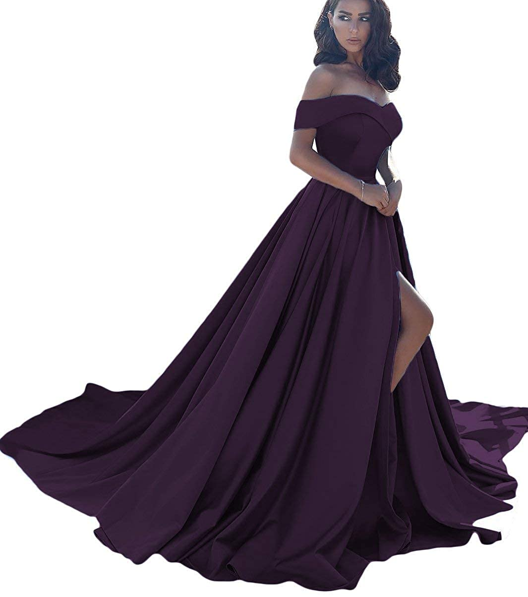 Grape CongYunGe Women's Off Shoulder Prom Evening Dress Long Satin Formal Gowns with Slit