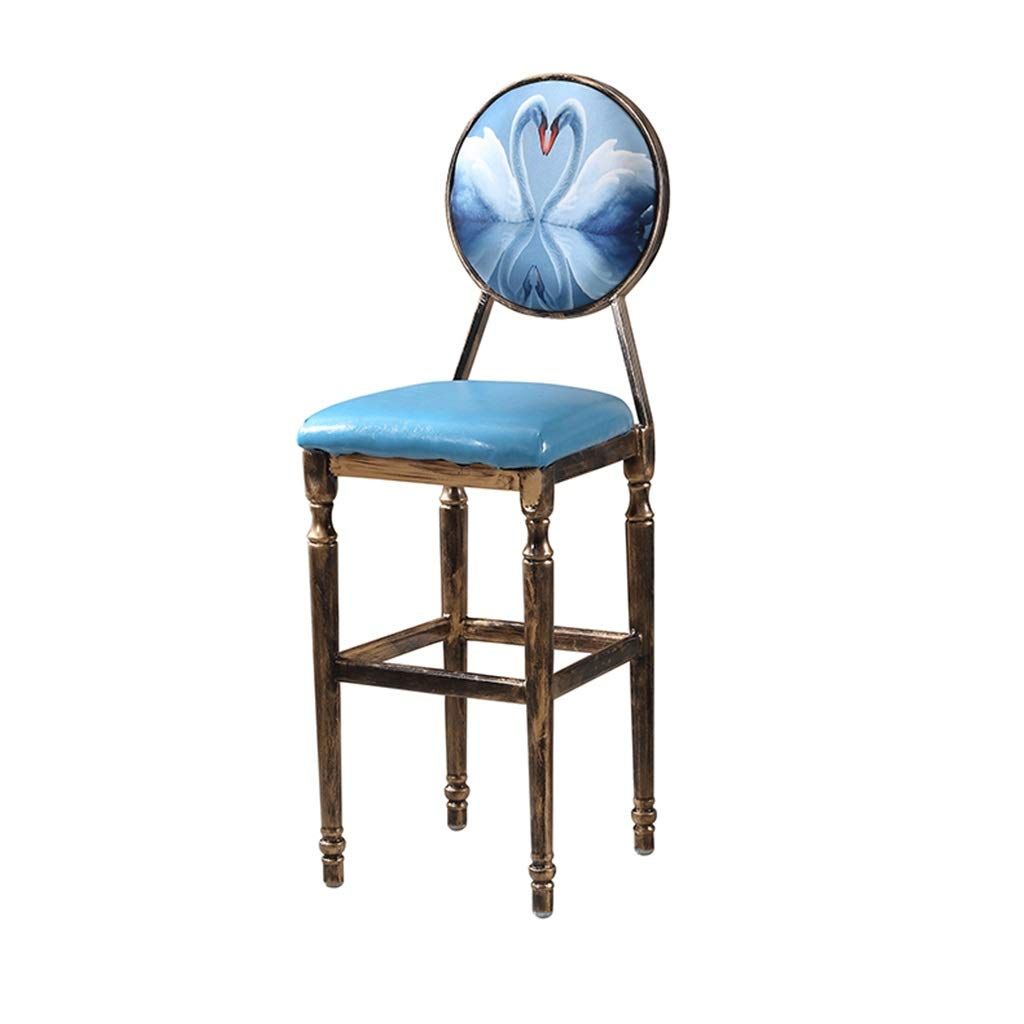 Q Barstools - American Retro Bar Stool Creative Leisure High Foot Chair Iron Art Backrest Seat Cafe Counter Personality Decoration 0425A (color   N)