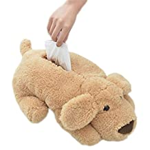 CINRA® Super plush dog tissue box handkerchief case cartoon paper towel tube Tissue Cover Paper Holder napkin box Paper Storage Box tissue tray paper container for Car Home Use bathroom accessories (light brown)