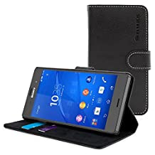 Xperia Z3 Case, Snugg Black Leather Flip Case [Card Slots] Executive Sony Xperia Z3 Wallet Case Cover and Stand [Lifetime Guarantee] - Legacy Series