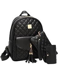 Pawaca Women Black PU Leather Bags Backpack for Girls Tassel Schoolbag - Casual Daypack Backpack