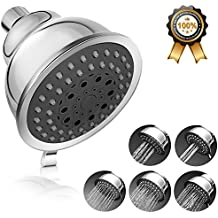 Adoric Rain Fall High Pressure Shower Head, Wall-Mounted Filtered 5 Settings with Removable Water Restrictor Chrome Finish and Adjustable Brass Swivel Ball Joint for Bathroom & Hotel