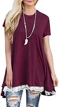 BELAMOR Women's Short & Long Sleeve A-line Flowy Tunic Tops (US 4-22)