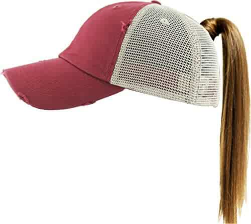 KBETHOS Ponytail Messy High Bun Hat Ponycaps Adjustable Cotton and Mesh Trucker Baseball Cap