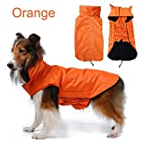 Waterproof Pet Dog RainCoat Jacket Dog Reflective Night Safety Jacket Hoodies Jumpers Fleece Lined For Warmth Chest Protector Pet Dog Outdoor Clothes Apparel Winter Warm for small medium large dogs(M,Orange)