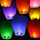 Diagtree 10 PCS Multicolor Paper Lanterns, Sky Wish Lanterns,Fully Assembled, 100% Biodegradable, New Designed Sky Lanterns for Birthdays, Ceremonies, Weddings and More (Multicolor 10 PCS)